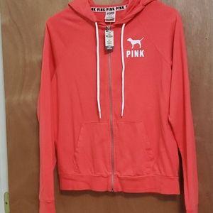 VS pink zip up sweater